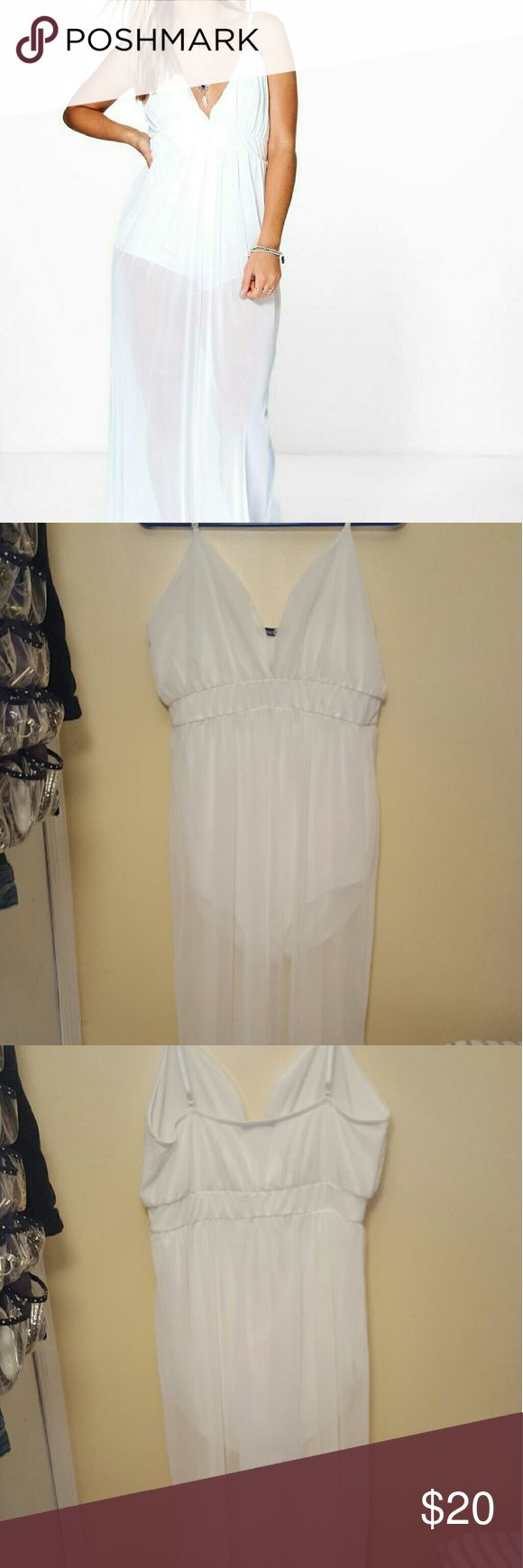 Plus White Sheer Maxi Dress White Sheer Maxi Dress with White Under Shorts attached. 95% Polyester 5% Elastane Boohoo Dresses Maxi