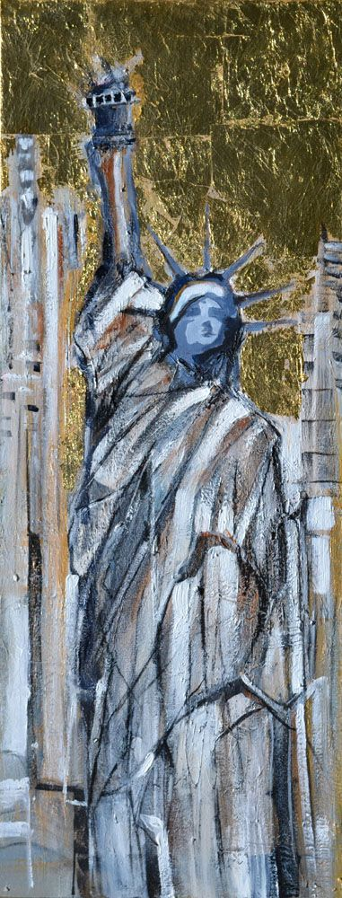 """""""Statue Of Liberty Gold"""" Original by Lucette Dalozzo Acrylic/Collage on Canvas 35 x 92cm Limited Edition Giclee Canvas Prints also available."""