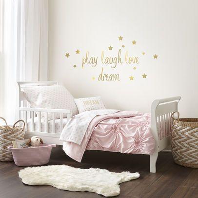 Levtex Baby Willow Gold Dot Pink 5 Piece Toddler Bedding Set