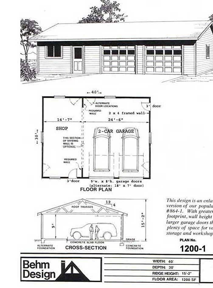 Suv Sized 2 Car Garage With Shop Plan 1200 1 40 X 30 By Behm Garage Shop Plans Garage Plans Garage Plan