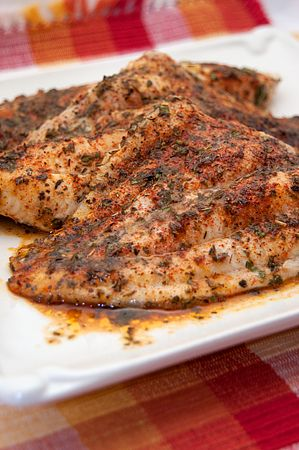 Baked Catfish: 2 tblsp. minced fresh parsley 1 tsp. salt ¾ tsp. paprika ½ tsp. dried thyme ½ tsp. dried oregano ½ tsp. dried basil ½ tsp. ground black pepper 4 whole catfish fillets Combine: Juice of one lemon, 2 tblsp. melted butter, ¼ tsp. garlic powder and pour over catfish. Non-stick cooking spray Preheat the oven to 350 degrees. Bake 15-20 min.