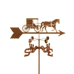 Amish Horse & Buggy Weathervane  Made in the USA 14 gauge laser cut zinc chromate plated steel. Baked on beautiful Antique Copper powder coat, with a clear baked on powder coat for a scratch and UV resistant finish. The top is 21 inches from the tip to the tail of the arrow and vary in height from 6 inches to 12 inches depending on the design. The top shows the wind direction, below the top is a 4 cup Anemometer that spins freely on a sealed ball bearing.