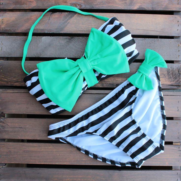 paper hearts mint bow bikini – shop hearts