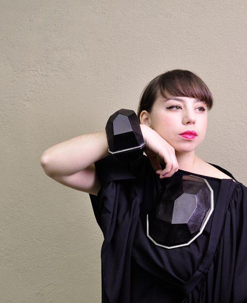 Sanna Svedestedt Pieces: Black Diamond bracelet & brooch 2009 Naturally tanned reindeer skin, titanium, silver