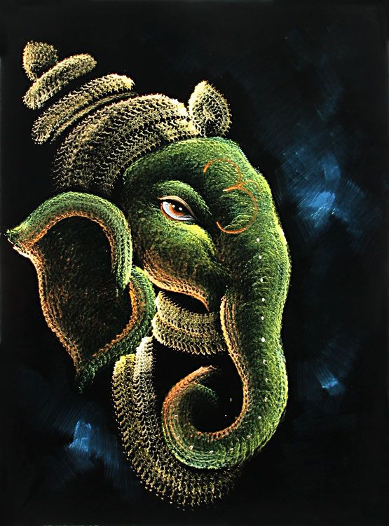 Ganesha+-+The+Elephant+Headed+God+(Painting+on+Velvet+Cloth+-+Unframed)