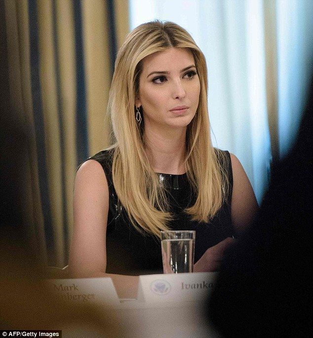 It's believed that a boycott of the Ivanka Trump brand led to the poor sales. Above, Trump looks downcast as she attends a meeting with business leaders at the White House on Friday
