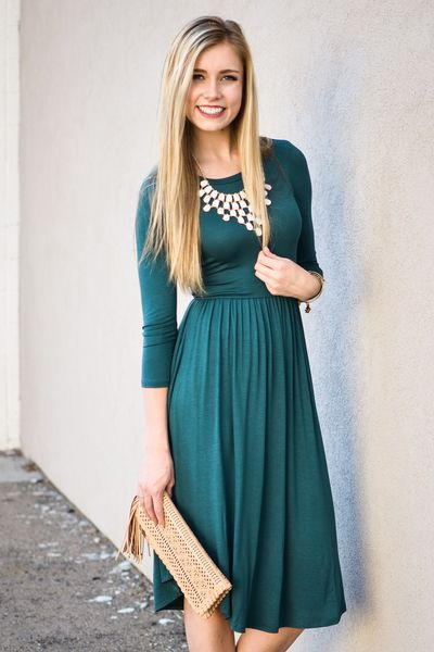 Teal Green Fit and Flare Dress - My Sisters Closet