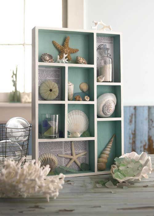 Oh I love this! I want to redecorate my whole house to look more beachy....Making shadow boxes with shells and sand from the beach would be so much fun! :)