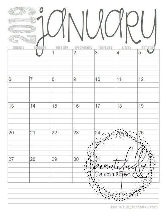 2019 Lined Monthly Calendars (Full Year) Printable PDF DIY