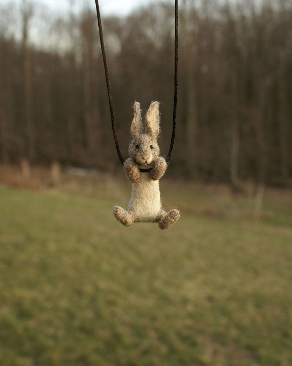 Tiny Rabbit Necklace / sculpture  needle felted by motleymutton, $40.00