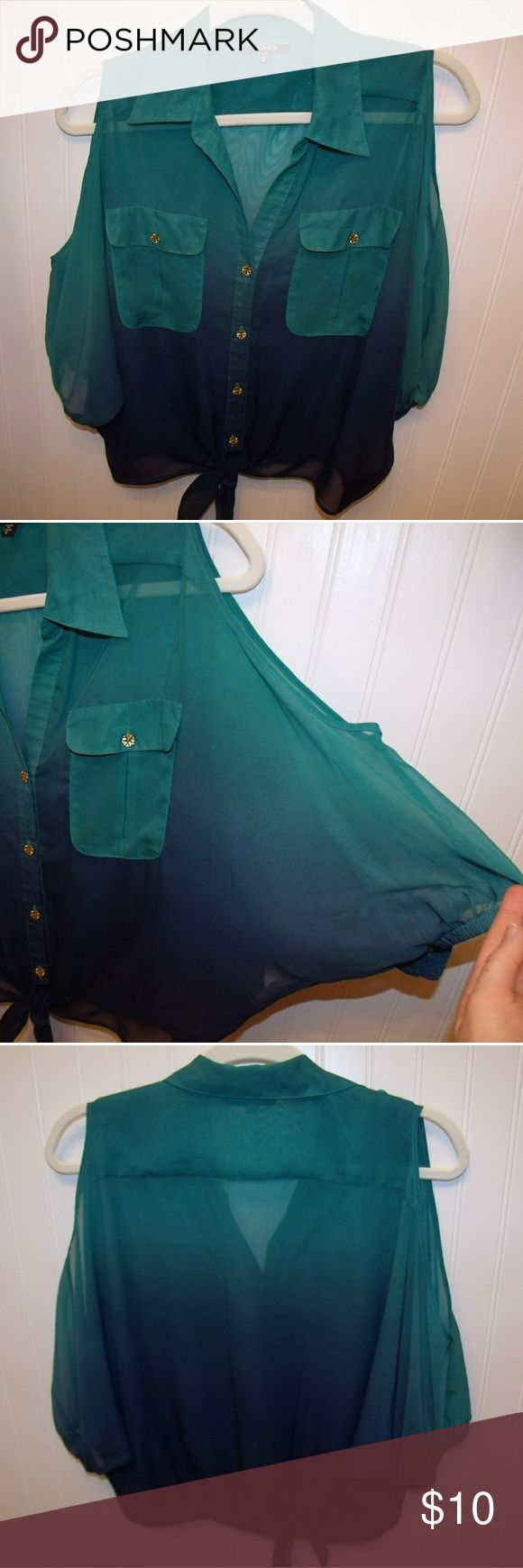 Emerald Ombre Sheer Top Light and flowy but the kind that fits just right! Has cutout shoulders and gold buttons to add a bit of attitude. Not your mother's button up shirt! Works great with jean bottoms!   *From a smoke free home* XOXO Tops Blouses