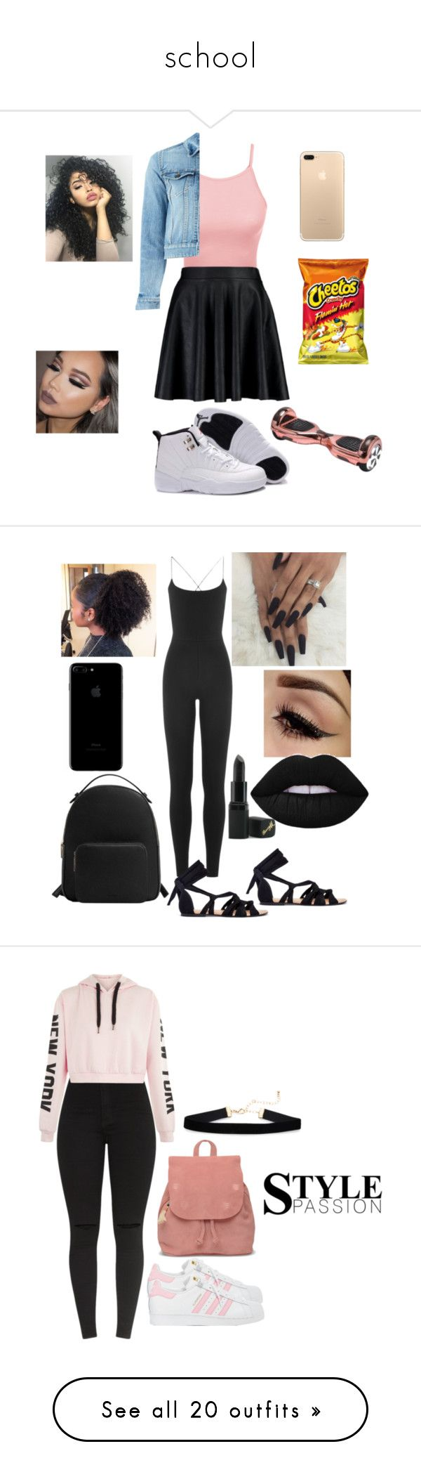 school by greene-ashia on Polyvore featuring polyvore fashion style LE3NO Boohoo Yves Saint Laurent clothing Valentino MANGO Barry M adidas TOMS Chicwish Topshop ANNA Dorothy Perkins Accessorize NIKE Charlotte Russe Ted Baker Too Faced Cosmetics tarte NARS Cosmetics LORAC Laura Mercier Forever 21 Sephora Collection Anastasia Beverly Hills Betsey Johnson Golden Goose Victoria's Secret rag & bone SUN68 Rebecca Minkoff Lime Crime WithChic Kendall + Kylie Jeffree Star adidas Originals Hot Topic…
