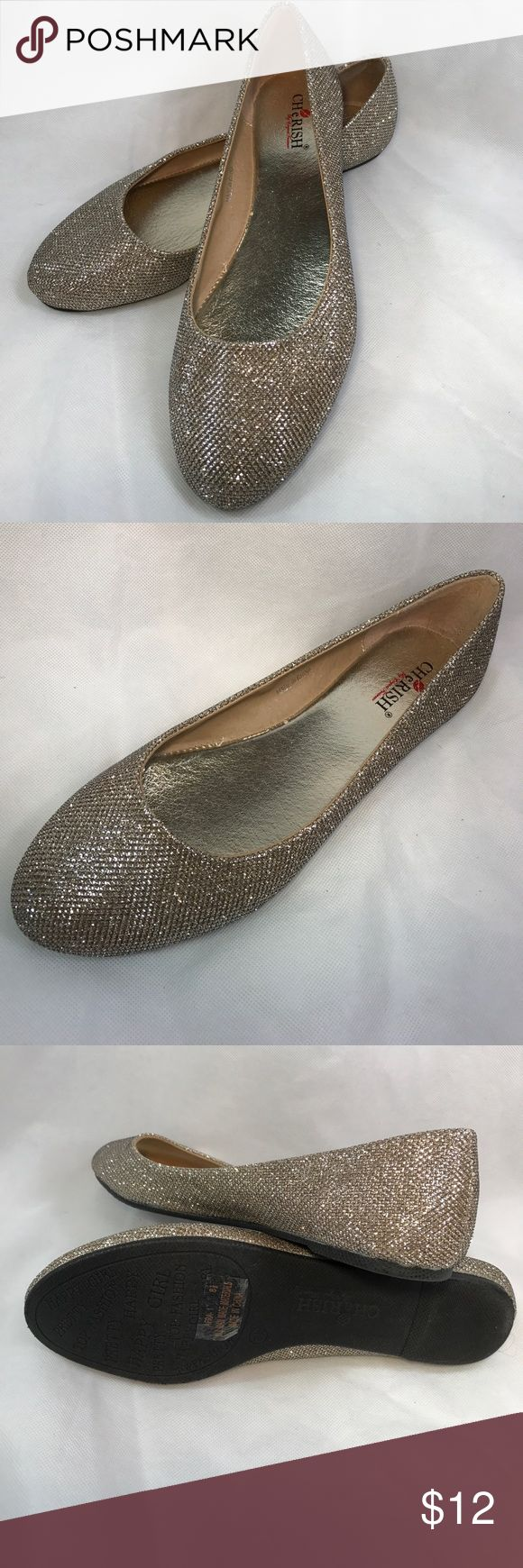 Elegant  Silver Sparkle Flats Never been worn silver sparkle flats. Add some glitz to your jeans! Cherish Shoes Flats & Loafers