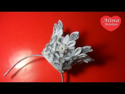 Красивая Корона Принцессы . Ободок Канзаши / Beautiful Crown Princess . Kanzashi Headband - YouTube