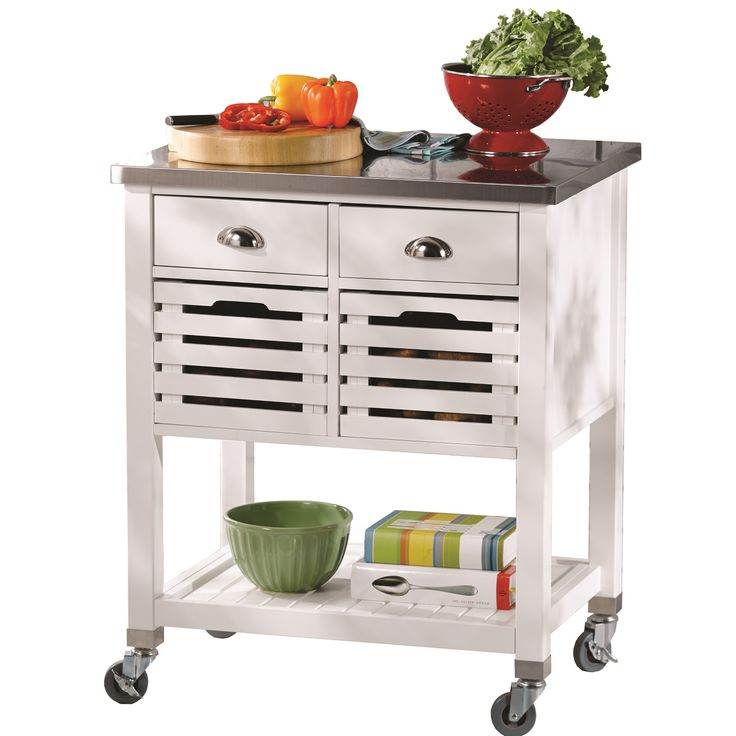 andover mills kitchen cart with stainless steel top on wayfaircom