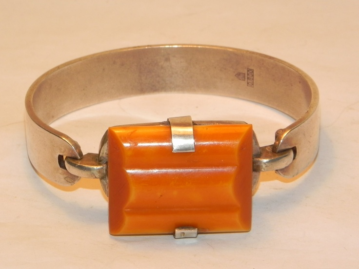 Vintage Art Deco Silver & Butterscotch Bakelite Cuff Bangle Bracelet Signed. .