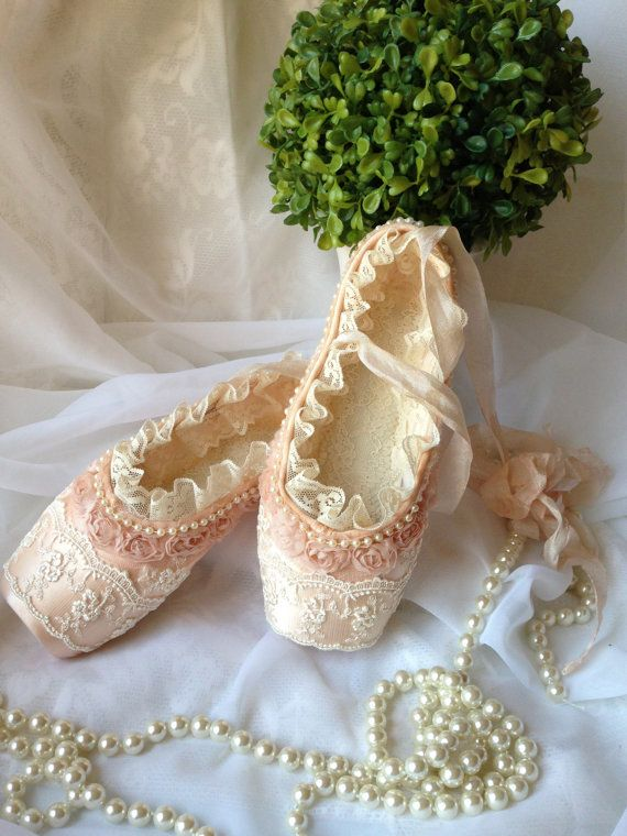 Ballet shoes decorated with lace and pearls, home decor, girl room decor, pink shoes, altered dance shoes