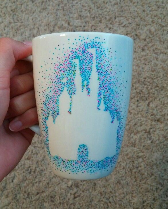 Disney castle sharpie mug mug is from the 99¢ store. Tip: the sharpie changes color after its cooked - Crafting To Go