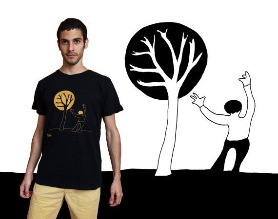 A man with a tree Men's T-Shirt Orange on black by MoonTshirt