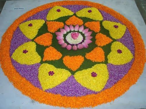 Beautiful Flowers Holi Rangoli Designs Ideas and Themes Patterns with Images for Free Download