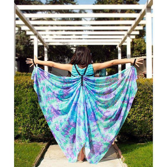 Kids Dress Up Wings, Butterfly Wings, Fairy Wings, Costume Wings, Dance Costume, Angel Wings, Silky - Purple Turquoise Lavender - All Sizes