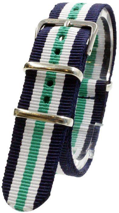 [2PiS] ( ダブルネイビー・ホワイト・センターグリーン : 18mm ) NATO 腕時計ベルト ナイロン 替えバンド ストラップ 交換マニュアル付 135-1-18