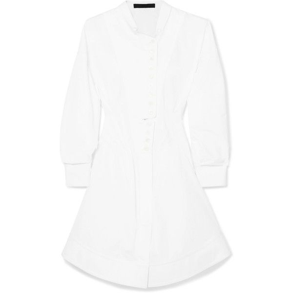 Alexander Wang Pintucked cotton-poplin shirt dress (€510) ❤ liked on Polyvore featuring dresses, white, white shirt dress, white dress, long shirt dress, white night out dresses and short dresses