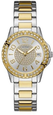 GUESS Women's Silver and Gold-Tone Crystal Accent Watch