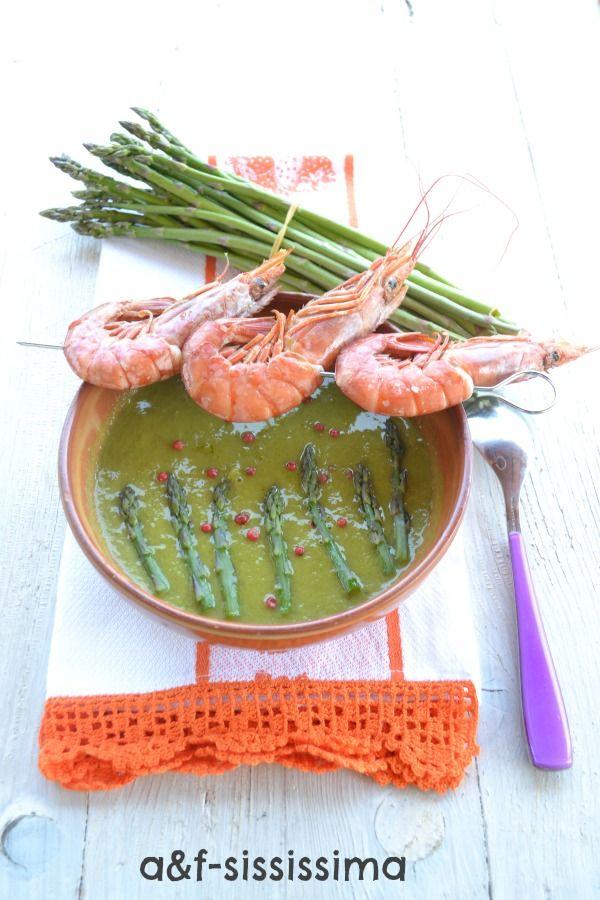 acqua e farina-sississima: crema di asparagi con gamberoni