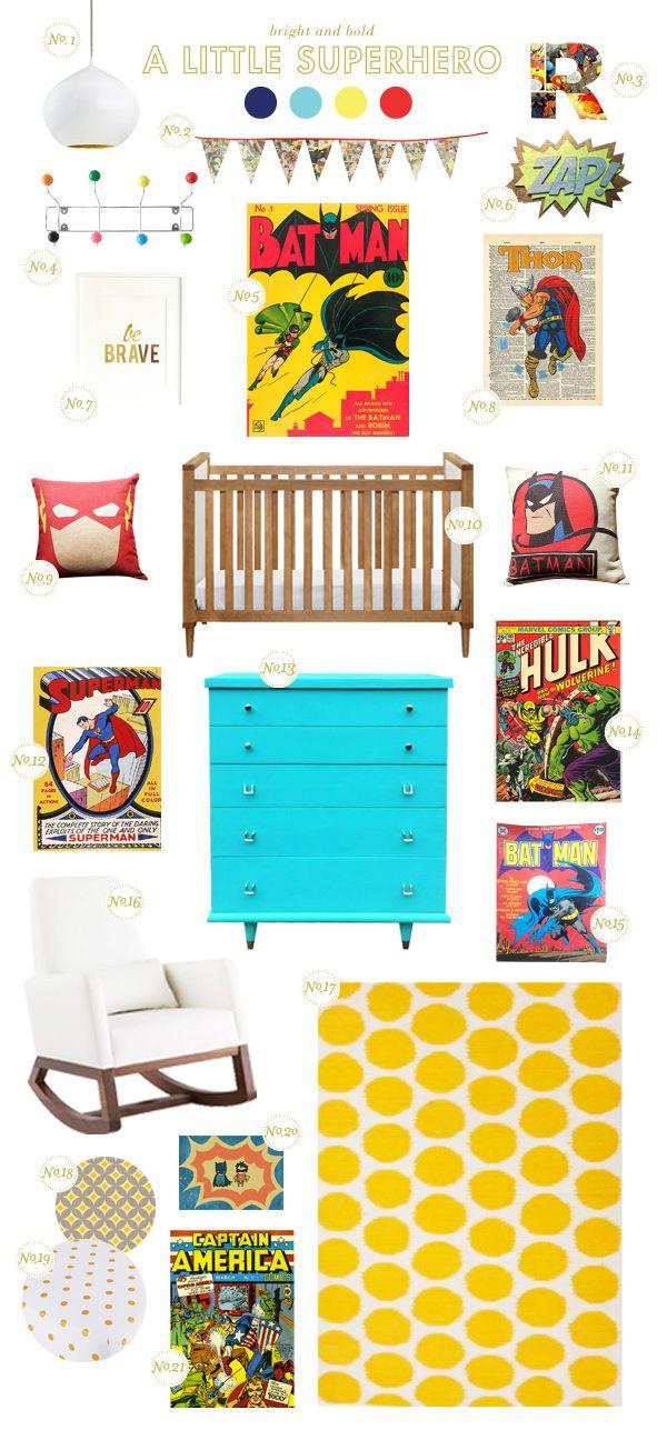 superhero nursery inspiration - love the rug, chair and crib