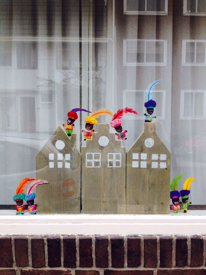 Sinterklaas huisjes raamdecoratie