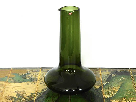 Iittala Deep Green Glass Wine Carafe i-Series Timo