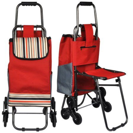 Amazon.com - Stair Climbing Rolling Folding Shopping Grocery Laundry Utility Seat Cart - Rolling Folding Shopping Cart With Utility Seat $31.99
