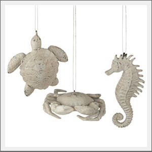 Sealife christmas ornaments. Coastal, Nautical or a Beach Christmas tree, add a little life from under the sea. Our sea life ornaments resemble sun-bleached wood and distressed for a washed ashore look.