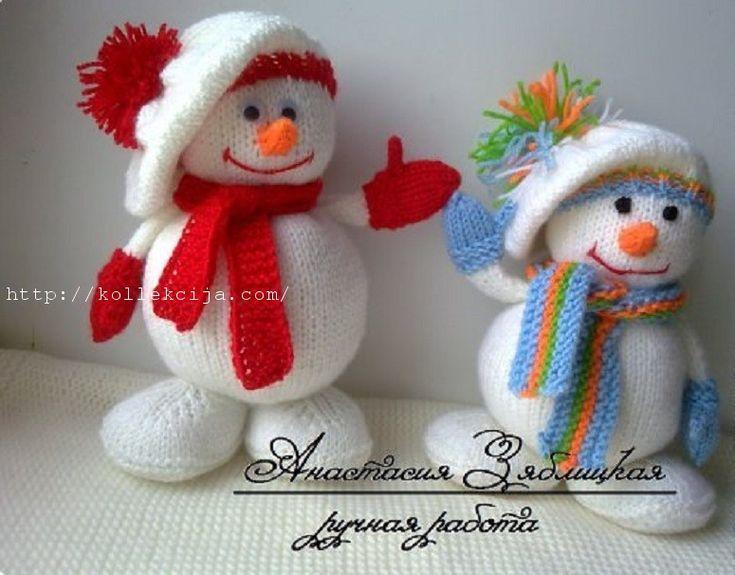 Вязаный Снеговик спицами Высота вязаного снеговика спицами 18,5 см Материалы: - пряжа акрил (белый, немного красного или любого другого, оранжевого) - спицы № 2-2,5 - 2 бусинки(полу бусины, глазки) - наполнитель - игла (для сшивания) Условные обозначения: Лиц.- лицевая петля Изн.