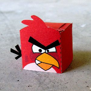 Printable party favor box Angry bird.