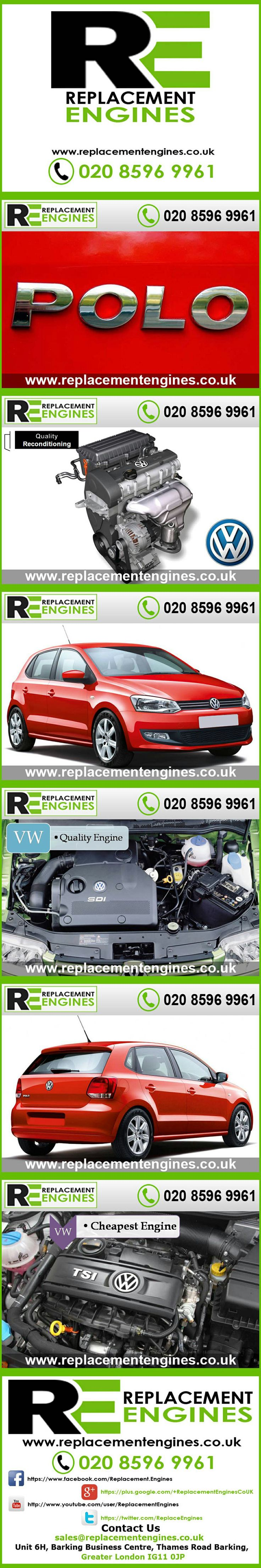 VW Polo Engines for sale at the cheapest prices, we have low mileage used & reconditioned engines in stock now, ready to be delivered to anywhere in the UK or overseas, visit Replacement Engines website here.  http://www.replacementengines.co.uk/car-md.asp?part=all-vw-polo-engine&mo_id=31141