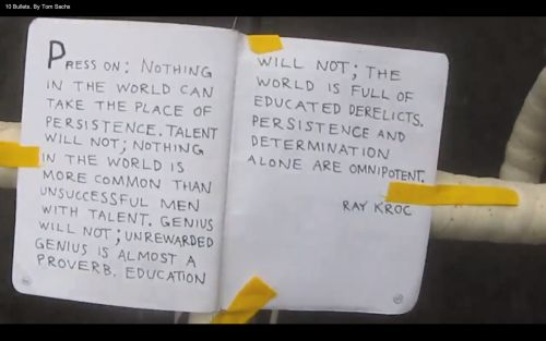 Ray Kroc quote on persistence from Tom Sachs' studio film