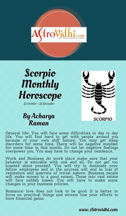 Get your Scorpio Monthly horoscope and Scorpio love, career and business horoscope.