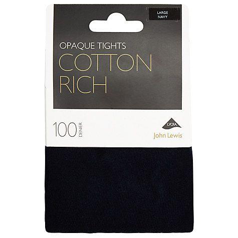 Buy John Lewis 100 Denier Opaque Cotton Tights Online at johnlewis.com