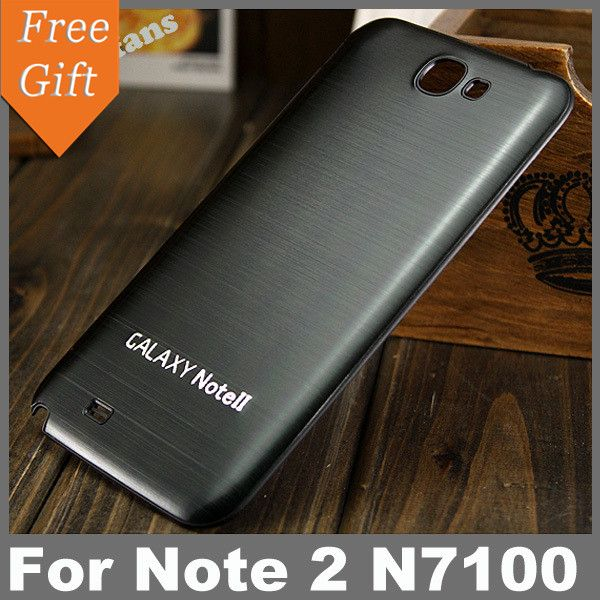 Note2 Luxury Brushed Aluminum + Plastic Battery back Case For samsung galaxy note 2 n7100 Battery cover | Best Online Store - FREE DELIVERY WORLDWIDE
