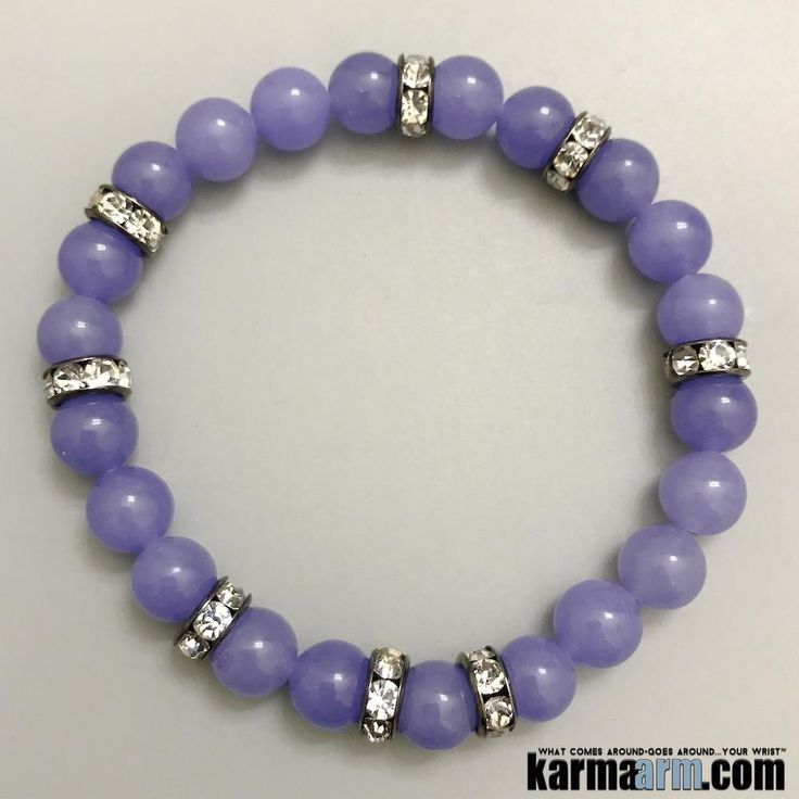 Purple Jade is a stone of mirth and happiness. By purifying the aura and dispelling any negative feelings or attitudes, it allows for the spontaneous joy of life to fill the soul and spill over to others. ……….. Beaded Bracelets, Handcrafted Shamballa & Modern Mala, Yoga Chakra Reiki Beaded Stretch Bracelets & Jewelry - Powerful Mens & Womens Natural Gemstone Mala Wrist Stacks. Purple Jade Swarovski.
