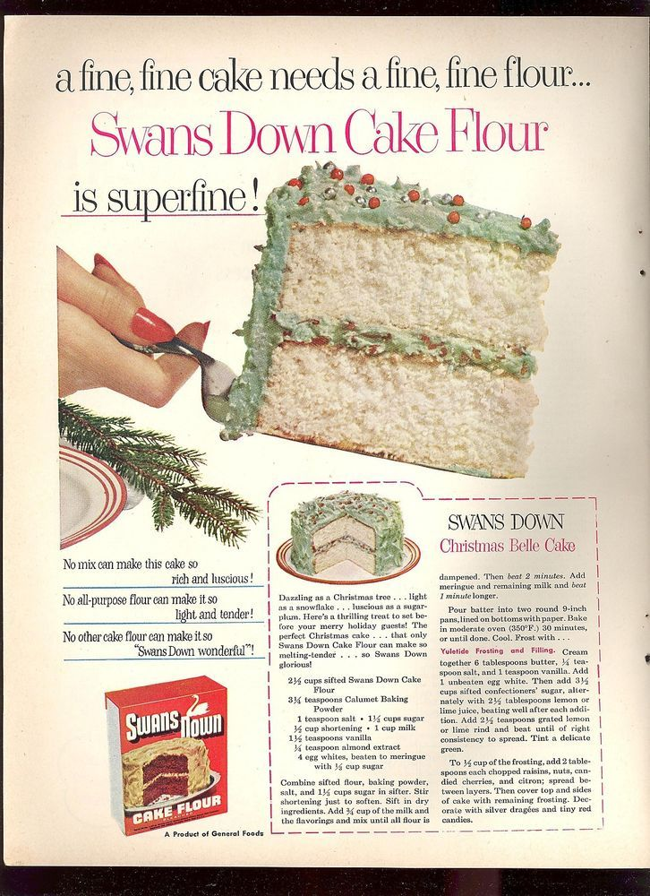 1952 Vintage SWANS DOWN CAKE FLOUR Christmas Belle Cake Recipe Print Ad