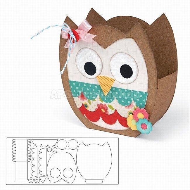Sizzix Bigz XL Die Bag, Owl Stanzschablone Geschenktüte Eule, AF