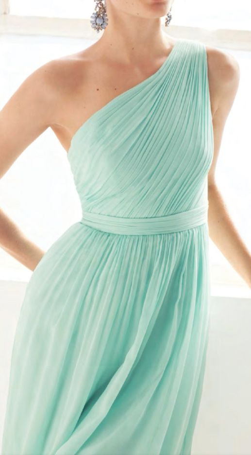 Mint lovely. One shoulder dress. Bridesmaids