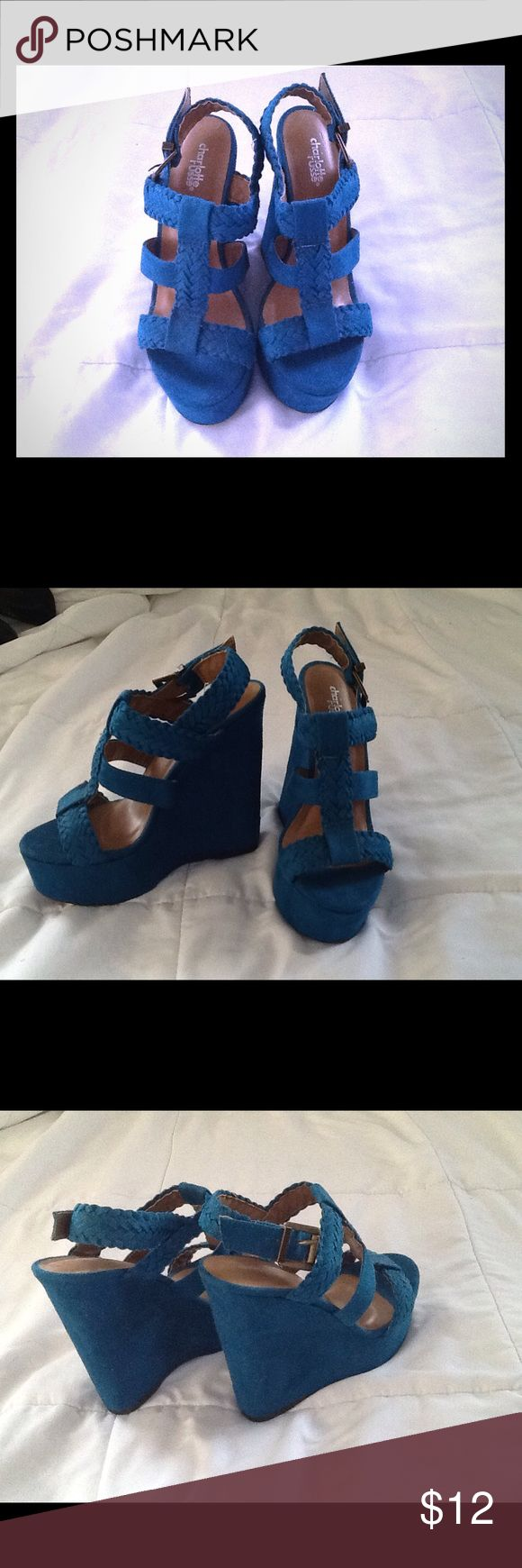 """Fun Turquoise Wedges Faux suede turquoise wedges. Buckle closure on the side. Braided accenting. Wedge is 5 1/2"""". In perfect condition. Only worn once!! Charlotte Russe Shoes Wedges"""