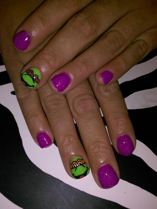 Ninja turtle nail art. Shellac gel polish