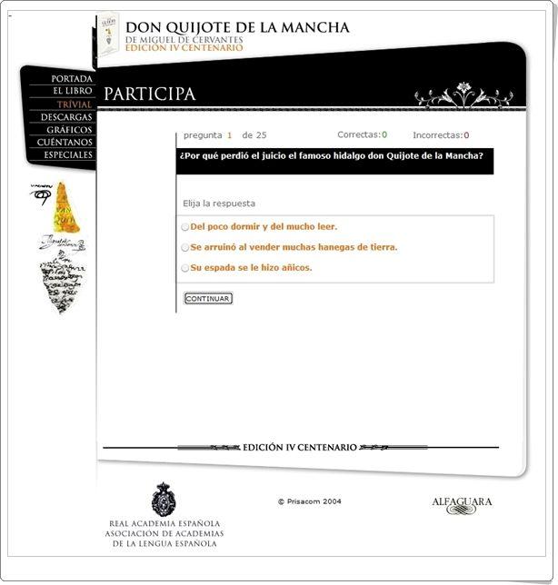 """Para celebrar el Día Mundial del Libro (23 de abril) se puede jugar al """"Trivial sobre Don Quijote"""", del diario """"El País"""". Es una prueba sencilla, aunque puede servir para dejarnos claro a nosotros mismos si hemos leído el Quijote mucho o poco."""