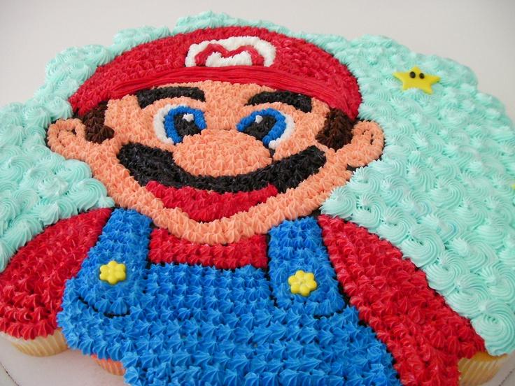 Mario Bro. cupcake cake