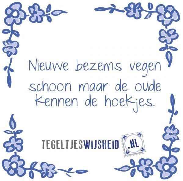 Translation: New brooms sweep clean, however the old ones know the nooks and crannies. --------Nieuwe bezems vegen schoon. Maar de oude kennen de hoekjes.